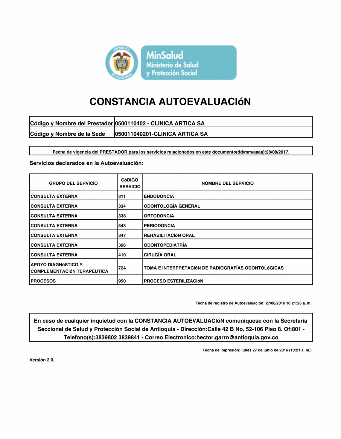 Auto-evaluación 2016