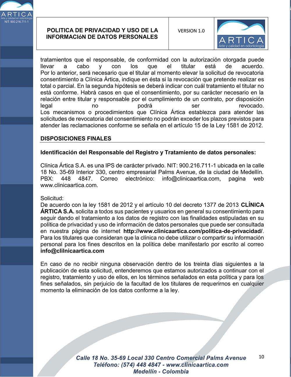 politica-de-privacidad-y-uso-de-datos-personales-clinica-artica-10
