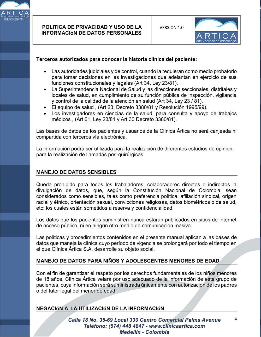 politica-de-privacidad-y-uso-de-datos-personales-clinica-artica-4