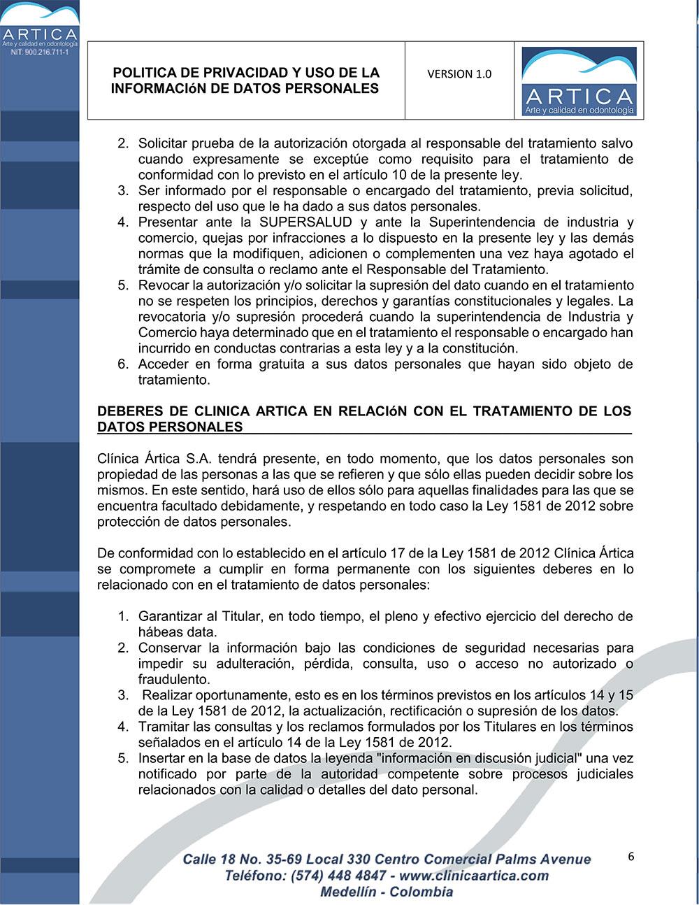 politica-de-privacidad-y-uso-de-datos-personales-clinica-artica-6