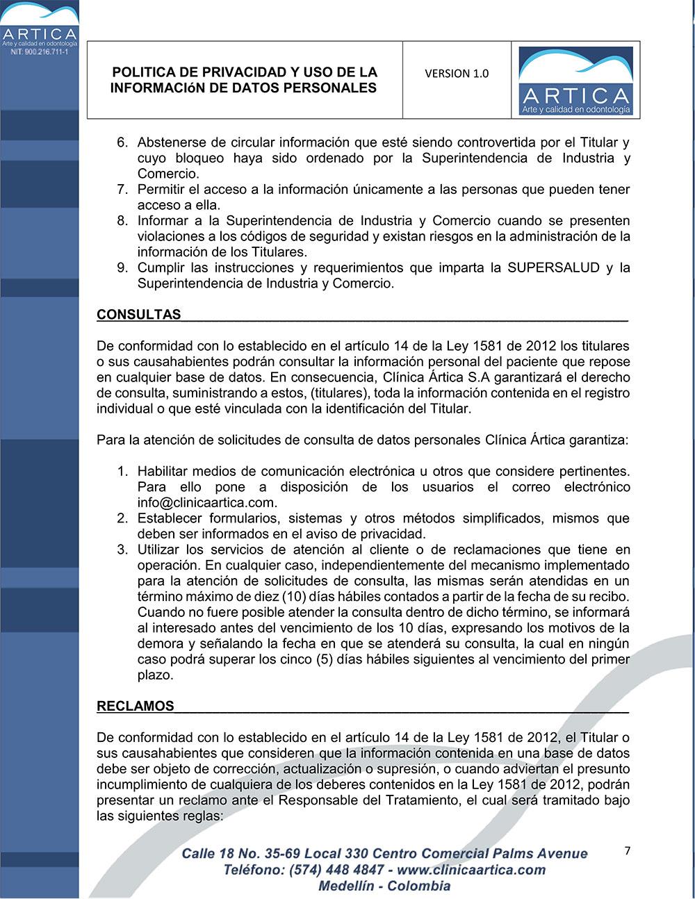 politica-de-privacidad-y-uso-de-datos-personales-clinica-artica-7