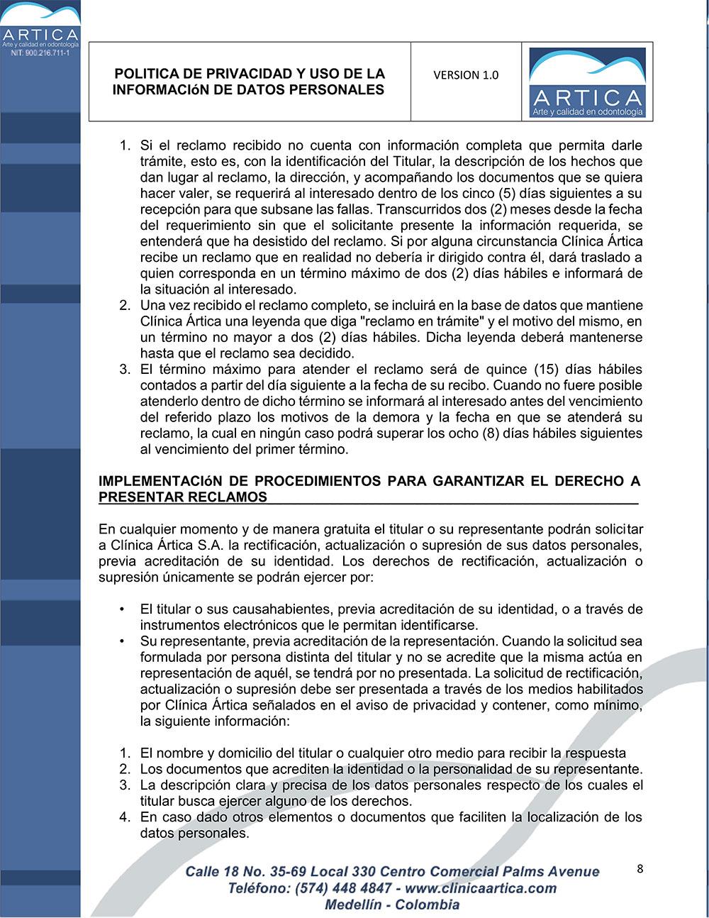 politica-de-privacidad-y-uso-de-datos-personales-clinica-artica-8