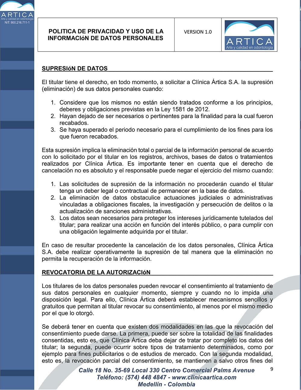 politica-de-privacidad-y-uso-de-datos-personales-clinica-artica-9