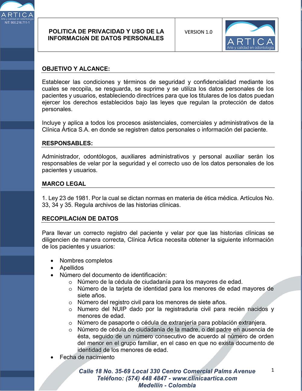 politica-de-privacidad-y-uso-de-datos-personales-clinica-artica